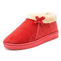 Sale 16% (16.99$) - Fur Lining Women Cotton Shoes Keep Warm Soft Flat Snow Boots