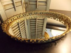 VINTAGE OVAL MIRROR Beautifully Framed in by VintageCreativeAccen, $15.00