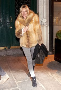 Kate Moss in a tan fur and gray jeans, such a great pairing!