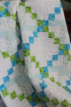 Blue and Green baby quilt