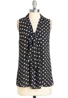 South Florida Spree in Black Dots - WPI, Mid-length, Woven, Black, White, Polka Dots, Tie Neck, Work, Casual, Vintage Inspired, Sleeveless, Variation, V Neck, Black, Sleeveless, 40s