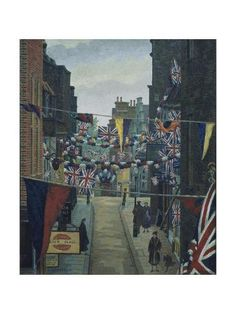 Giclee Print: Flask Walk, Hampstead, on Coronation Day by Charles Ginner : Post Impressionism, Tropical Art, Beach Landscape, Find Art, Giclee Print, Scenery, Around The Worlds, Gallery, Photography