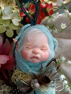 One of a kind Teal blue fairy/pixie baby by rosannasart on Etsy, $100.00