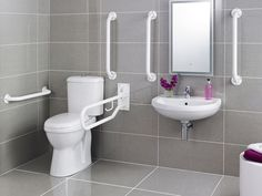 £255.95 Pack includes:  Comfort Height Doc M Pan Doc M Cistern Toilet Seat Wall Mounted Basin Grab Rails (5th Grab Rail to be fitted to back of door) 1 Drop-down Rail Spray Mixer Tap Mirror and Bottle Trap not included. LABC cert no: 396 Guarantee & Aftercare During installation extra care must be taken to avoid damaging the fittings. We provide a 5 year guarantee against faulty workmanship or materials (excluding serviceable parts), providing they have been installed, cared for and us