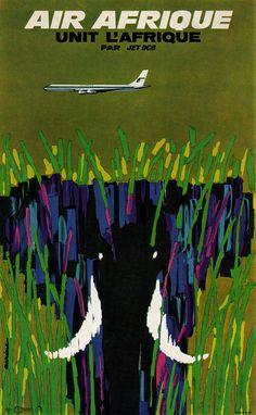 https://flic.kr/p/ae45DY | Jacques Auriac Illustration | Poster for Air Afrique airline. Artist, Jacques Auriac