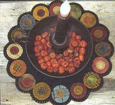 Primitive Folk Art Wool Applique Pattern:  SCRAPPY PENNY CANDLE Mat. $6.00, via Etsy.