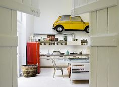 """She had me at """"yellow-car-on-the-wall"""" {Katrine Martensen-Larsen}  Wit and color blocking in this linear design. Love it."""
