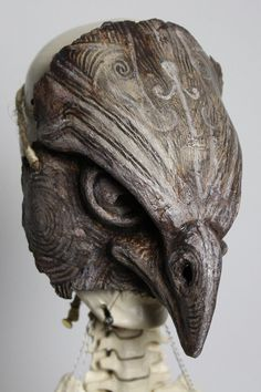 • • • Wearable unique, handmade and hand-painted paper mache Falcon Bird Mask • • •  The mask in the image is ready to order. [Send me a message if