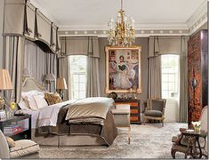 FEDERAL Style BEDROOM.  Luxury Master Bedroom. Perfectly tailored drapes with vlances Neutral grey fabrics in a plush room.  Very masculine bedroom.  Classical design.