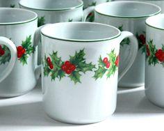 Lot 10 Xmas Holly Porcelain Mug Schmidt Brazil Ceramic White Berry Leaf 8 10 oz #schmidt
