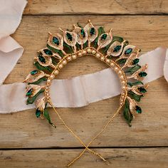 Olivia Gold and Emerald Bridal Headpiece Hair Accesories Wedding, Wedding Hair Pins, Bridal Hair Vine, Bridal Tiara, Wedding Hair Accessories, Bridal Headpieces, Gold Wedding Crowns, Luxe Wedding, Special Occasion Hairstyles