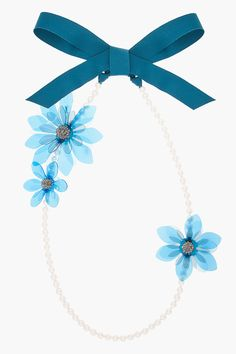 Lanvin Blue Pearl And Flower Ribbon Necklace -  Lanvin Blue Pearl And Flower Ribbon Necklace Lanvin Faux_pearl necklace in tones of white and blue. Teal ribbon closure. Three multi_layered vinyl flower details. each with silver center pav in tonal rock crystal accents. Approx. 70 long chain including ribbon. Largest flower accent approx. 5...