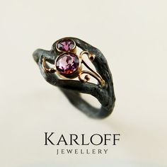 121S,-,silver,and,golden,ring,with,tourmaline,Sterling Silver Ring, Golden Ring with Tourmaline, tourmaline ring, Unique Jewellery, Handmade Jewellery, KARLOFF-JEWELLERY