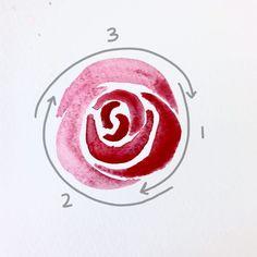 Bible Journaling- Easy Watercolor Rose Tutorial Watercolor Flowers Tutorial, Watercolour Tutorials, Watercolor Rose, Simple Watercolor Flowers, Painting Tutorials, Watercolor Landscape, Art Tutorials, Simple Oil Painting, Painting & Drawing
