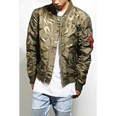 Forever21 Victorious Camo Bomber Jacket ($58) ❤ liked on Polyvore featuring men's fashion, men's clothing, men's outerwear, men's jackets, olive, mens quilted jacket, mens zip up jackets, mens olive jacket, mens camouflage jacket and mens olive green bomber jacket