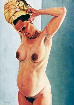 Vrouw met gele handdoek / Woman with yellow towel, 50 x 35 cm, oil on canvas, 1999.