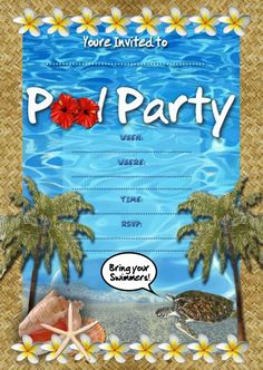 Invitations Pool Party  Pool Party Invitation Templatepinclout