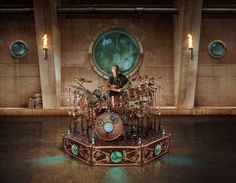 This is the steampunk style drum of Neil Peart from the popular Canadian band Rush
