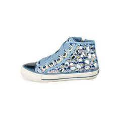 Ash Vanessa Embellished High-Top Sneaker ($111) ❤ liked on Polyvore featuring shoes, sneakers, ash trainers, round cap, lace up shoes, ash shoes and lace up high top sneakers