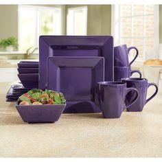 It s hip to be square with colored dinnerware. Service for 4 includes 10 dinner plate, 7 salad plate, Now, Pay Later with Country Door Credit!