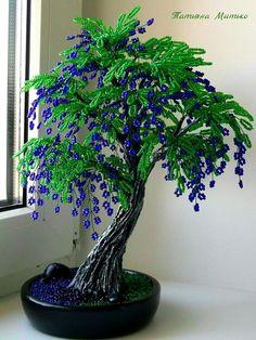 OK - Salvabrani - My site Beaded Flowers Patterns, French Beaded Flowers, Crochet Flowers, Bonsai Art, Bonsai Plants, Bonsai Garden, Beaded Crafts, Wire Crafts, Copper Wire Art