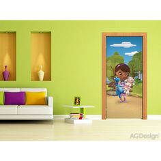 Doc McStuffin and Friends Mural By WallandMore. Can be applied both on the wall and door. Disney Wall Murals, Disney Rooms, Doc Mcstuffins, Elsa Frozen, The Little Mermaid, Kids Bedroom, Your Child, Winnie The Pooh, Mickey Mouse