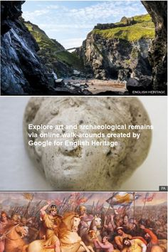 Rarely seen works of art and archaeological remains are among the historical treasures being revealed online for the first time. English Heritage has worked with Google to create walk-around online images of 29 sites across England. They include Tintagel Castle in Cornwall, with its links to King Arthur, and a Cold War bunker in York. The partnership uses digital technology including Google Street View and high-definition cameras. English Heritage, Sites Online, King Arthur, Digital Technology, Online Images, Bunker, Cold War, Historical Sites, Science Nature