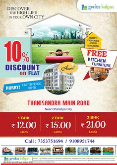 Before buying a property you must review the reputation of a developer in terms of quality of construction and delivery time. Here the company Gruha Kalyan provides good quality homes and cost effective too. We are offering 10% Discount for every flats and apartments with world class amenities .