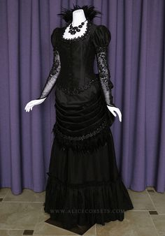 Victorian Steampunk Gothic Bustle Dress ~ Witch Vampire Ball Masquerade Goth Bride Halloween Feathers Wedding Gown 19 century Period Costume by Alice Corsets