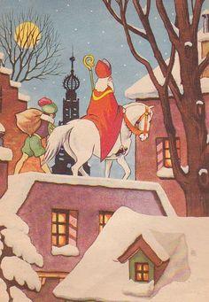 Sinterklaas en pieterbaas op het dak