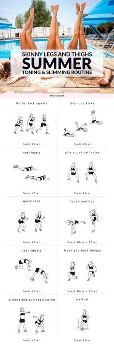 Get slim, shapely legs and thighs with this 29 minute skinny legs workout. An at home summer routine to tone your lower body and help you get lean, strong and sexy legs fast! http://www.spotebi.com/workout-routines/skinny-legs-workout-slim-toned-legs-for-summer/: