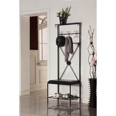 Black/ Brown Bench Coat Stand - Overstock™ Shopping - Great Deals on Accent Pieces