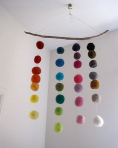 BABY MOBILE - giant felted rainbow balls wool nursery room home decor / Waldorf decoration
