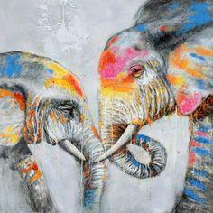 Schilderij olifant 100x100 Nieuw!