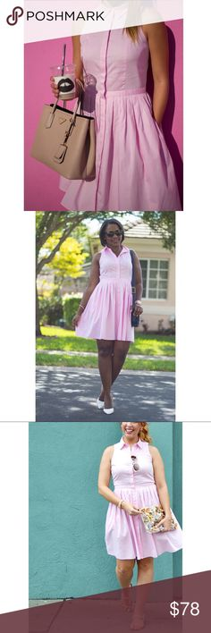 Ann Taylor•Pink Shirt Dress The prettiest, preppiest dress in all the land! Worn twice last summer until my baby bump got in the way! Excellent condition. 12P, I had the same dress (in a different color) in 10 Regular. They fit exactly the same, FYI! Ann Taylor Dresses