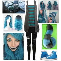 Modern Female Cheshire Cat Alice in Wonderland version) by shadow-cheshire… Disney Inspired Outfits, Disney Outfits, Casual Cosplay, Cosplay Outfits, Cat Costumes, Costumes For Women, Costume Ideas, Female Costumes, Cheshire Cat Makeup