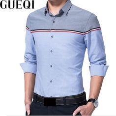 1c136c2212b GUEQI Patchwork Design Men Cotton Shirts Plus Size M-4XL Long Sleeve  Striped Tops 2017