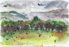 Summer Storm Landscape Postcard in watercolour by Sophie Peanut Landscape Sketch, Landscape Design Plans, Landscaping Design, Watercolor Postcard, Pen And Watercolor, Learn To Sketch, Urban Sketchers, Art Sketchbook, Sketches