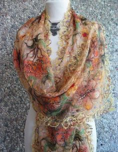 Yellow orange handmade openwork shawl for women. от crazywoolLT