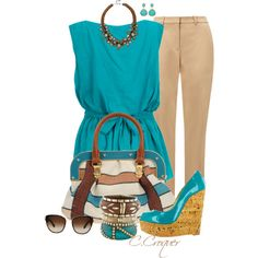 Spring, Wedges & Turquoise, created by ccroquer on Polyvore