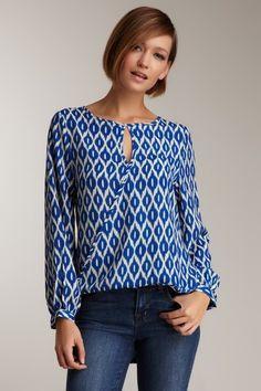 Costa Blanca Long Sleeve Double Roll Blouse on HauteLook // great shape