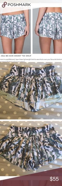 """RARE 🍋 Cactus print Sea me Run shorts """"See Me Run"""" shorts  Amazing flowy shorts! Like new condition!   ***PRICE FIRM NOT ACCEPTING OFFERS***  Would look great as a swim coverup with the lulu suit I have listed!! Does not have built in undies. lululemon athletica Shorts"""