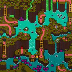 Mario Bros. Map Paintings Artist note: Using video game editing software, I first developed, and then painted, a screen map that references Super Mario World, a 90s era video game. The image clearly mimics the style of the old video game, but introduces new elements that add a humorous and nostalgic take on it. The flatly painted surface and intense colors heighten the relationship between the digital and the real. Created byKen Kocses (via:dotcore)