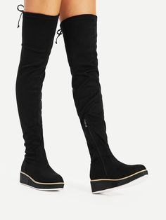 5057d0dd34a OTK Thigh High Decorated with Lace Up. Flat Boots with Round Toe. Boots  have Side zipper. Perfect choice for Casual wear. Trend of Designed in Black .