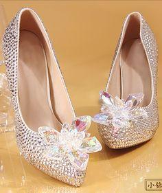 ad382d4b301 2018 Sparkle Wedding Heels Luxury Bling Women Pumps 10cm High Heels Wedding  Shoes Beaded Crystals Pointed Toe High Heel Cinderella
