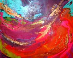 """Hand painted, Original artwork on canvas - FREE SHIPPING FOR A LIMITED TIME The artwork details  title: Aura  Total size: 40x30x1.8"""" (approx100x80x5cm)  Colours: multiple bright colour washes with gold metallics Framing: Heavyweight & stretched deep-edged (5cm) canvas. Ready to hang. No framing required. Materials: acrylic, mixed media  by: Caroline Ashwood (signed on reverse) certificate of authenticity included  Commission Art:  This is a very deeply textured and sculptured commission work…"""