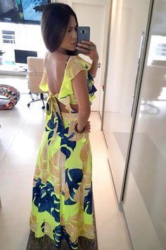 VESTIDO LONGO FARM FOLHAGEM DE VERÃO - BabadoTop Summer Wear For Women, Night Wear Dress, Cheap Dresses, Summer Dresses, Dress Outfits, Fashion Dresses, Vestido Casual, Cotton Dresses, Spring Outfits