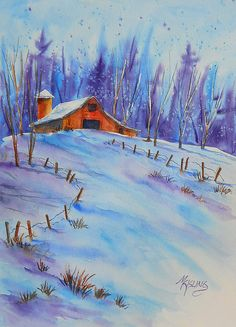 Watercolor Of Mountain Barn and Snow with Trees by martha kisling