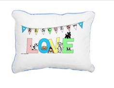 Rescues Are Love Pillow  Personalized by CCGirlsCorner on Etsy