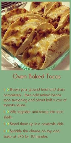 *make with low carb tortillias** Oven Baked Tacos. baked mine while fixing the toppings. top edges were nicely crispy. Would like to get the rest of the shell to taste like that. Oven Baked Tacos, Baked Tacos Recipe, I Love Food, Good Food, Yummy Food, Food Dishes, Beef Dishes, Main Dishes, Brenda